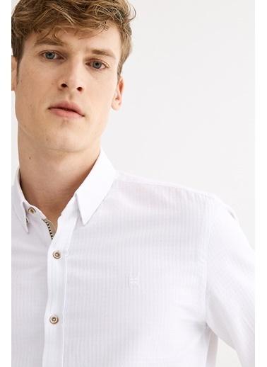 Avva Erkek  Armürlü Alttan Britli Slim Gömlek A01S2284 Beyaz